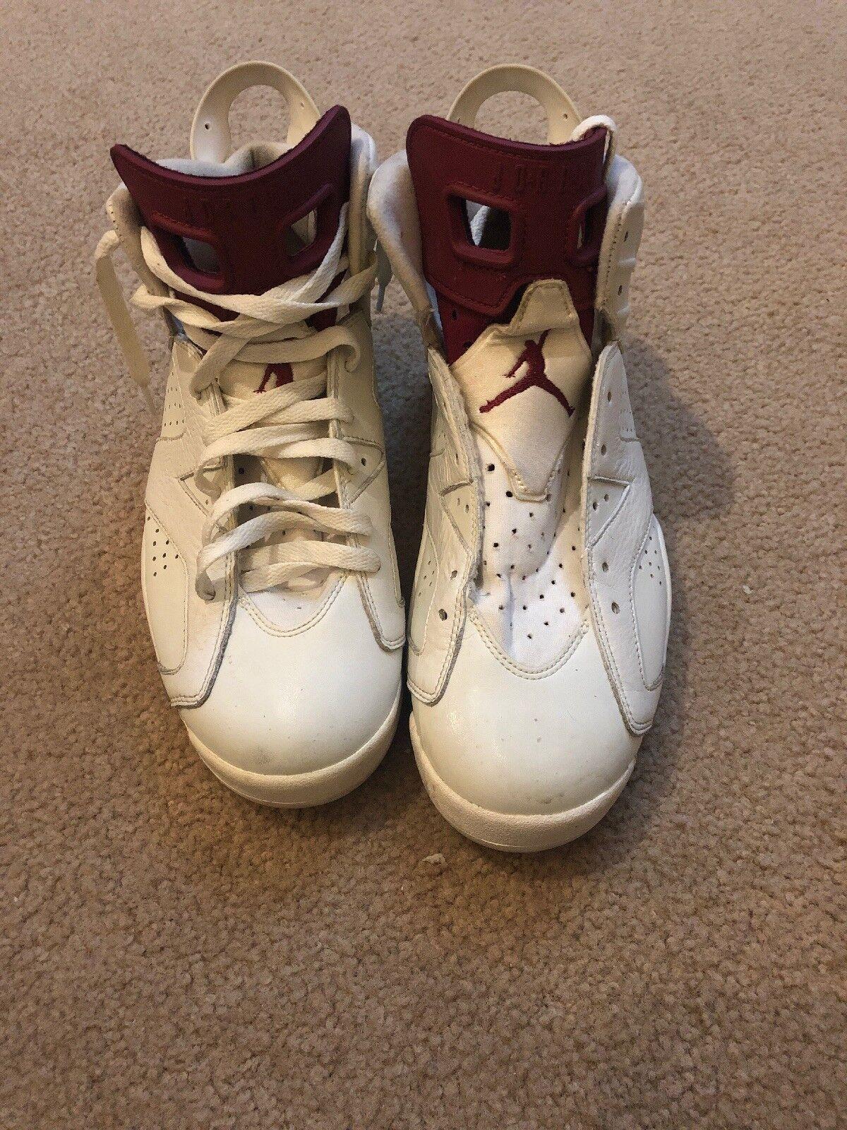 Nike Air Jordan 6 Retro VI shoes Maroon Off White 384664-116 Men Size 9.5
