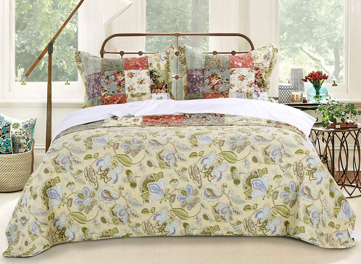 BEAUTIFUL PATCHWORK COUNTRY VINTAGE WHITE PINK FLORAL pink GREEN blueeeeeE QUILT SET