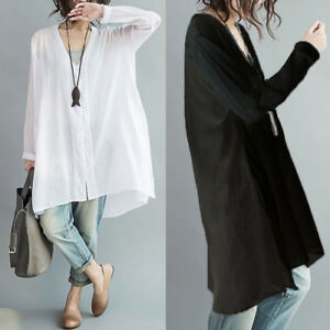 e3aa845c2b3 Image is loading ZANZEA-Women-Oversized-Summer-Cotton-Shirt-Tee-Casual-