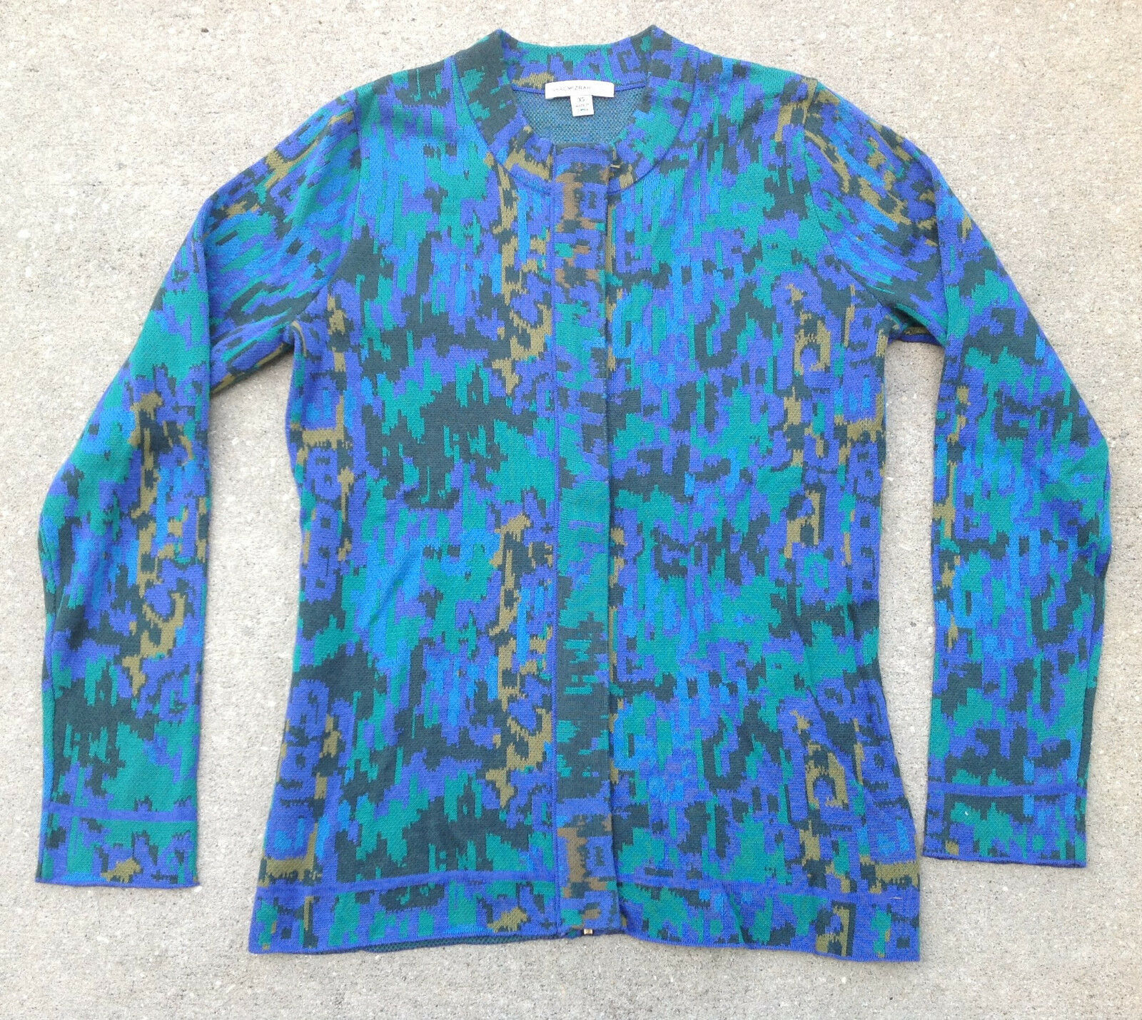 Isaac Mizrahi Live  Abstract Animal Jacquard Zip Cardigan, Size XL, MSRP