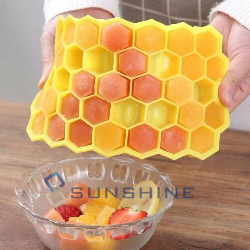 2PCS Honeycomb Shape Ice Cube Tray 37Cubes Silicone Frozen Ice Mold Maker W// Lid