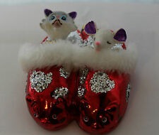 Christmas Decoration Boxed Hanging Real glass Glamour Cat & Mouse tree ornament