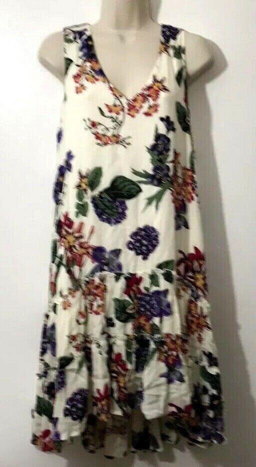 Karen Kane NWT Botanica Double Ruffled Hem M Midi Dress Fully Lined Ret