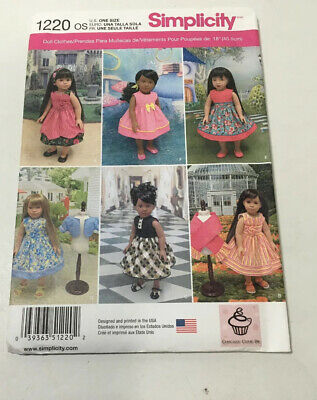 """18/"""" DOLL  Vintage Dresses NEW Simplicity 1220 Pattern Fits American Girl"""