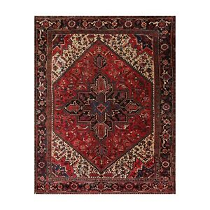 "8'3"" x 10' Hand Knotted 100% Wool Herizz Traditional Oriental Area Rug Red"