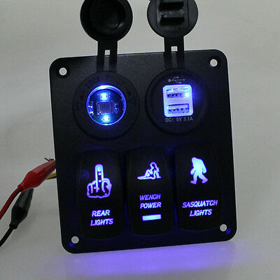 6 GANG Aluminium SWITCH PANEL CIRCUITBLUE LED ROCKER  BREAKER CAR RV BOAT MARINE