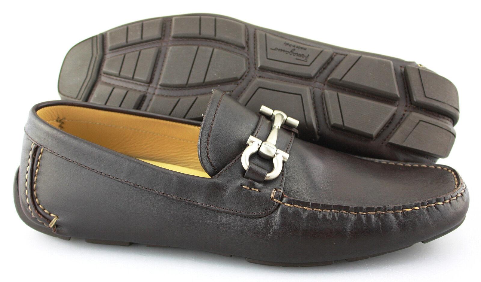 Men's SALVATORE FERRAGAMO 'Parigi' Dark Brown Leather Loafers Size US 9 - D