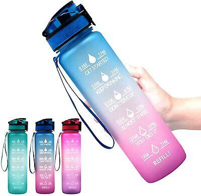 1 L Sport Water Bottle with Time Marker Motivational Water Jug  32 Oz