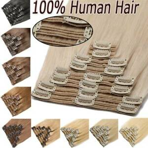 100-Real-Remy-Clip-In-Human-Hair-Extensions-Double-Weft-Single-Weft-Full-Head