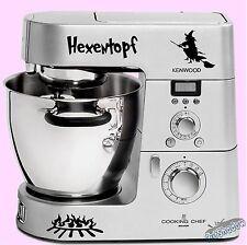 Hexentopf mit Hexe / Kenwood cooking chef Küchenmaschine Aufkleber Sticker decal