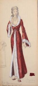 Vintage-gouache-painting-theatre-woman-costume-design-signed