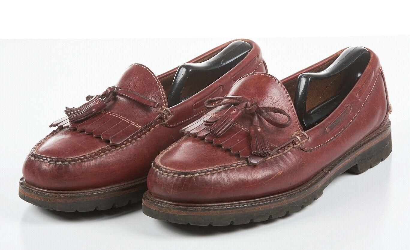 Mens L.L. BEAN shoes 10 1 2 EE in Burgundy Leather Kiltie Moc Lug Sole OVJ15