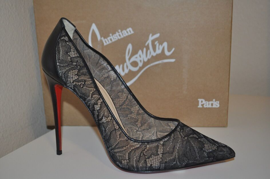 NIB Christian Louboutin FOLLIES Lace 100 Pointy Toe Pump shoes Black Mesh 41   11