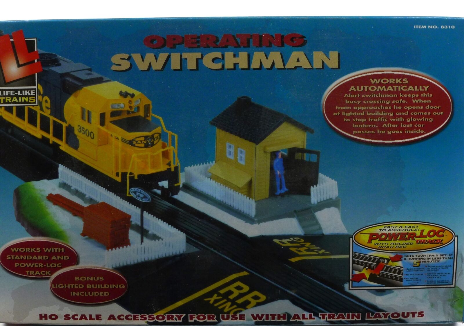Switchman Life Like Trains Operating Lighted Building No 21315 HO Scale Man