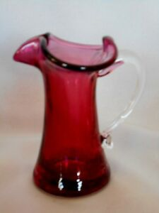 Vintage Cranberry Red Hand Blown Art Glass Ewer/Pitcher w/Applied Handle