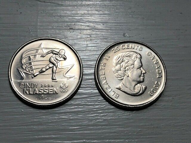 2009 CANADA 25 Cent Cindy Klassen Coloured Quarter From Mint Roll UNC