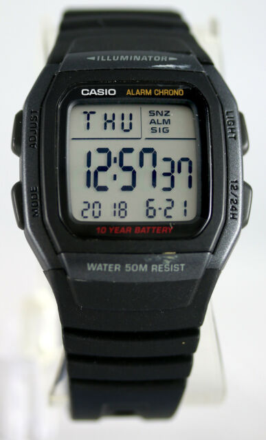 Casio W-96H-1BV Men's Watch Multifunction 10 Year Battery Snooze Alarm Sport New