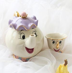 Disney Beauty And The Beast Teapot Cartoon Mug Mrs Potts Chip Tea Pot Cup Set UK