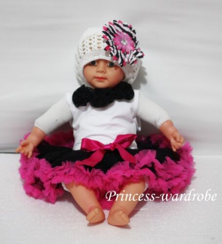 Baby Black Hot Pink Pettiskirt Black Rose Top Set 3-12M