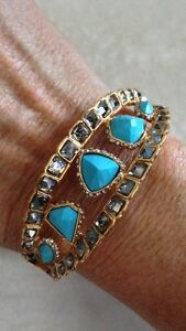 ALEXIS-BITTAR-Gold-Color-Turquoise-Bangle-Bracelet-With-White-Stones