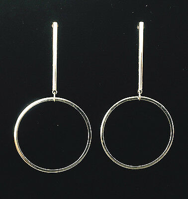925 Sterling Silver Bar and Circle Long Dangle Post Earrings - Gift Box