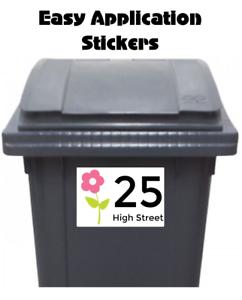 4 Pegatinas de Media Personalizado Wheelie Bin Número De Dirección Postal Flor Impermeable 2