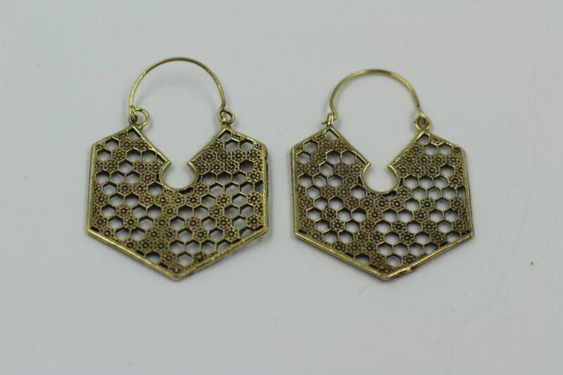Brass Earings, Indian Mandala, Tribal, Boho, Gypsey Hoop Festival Fashion Ethnic