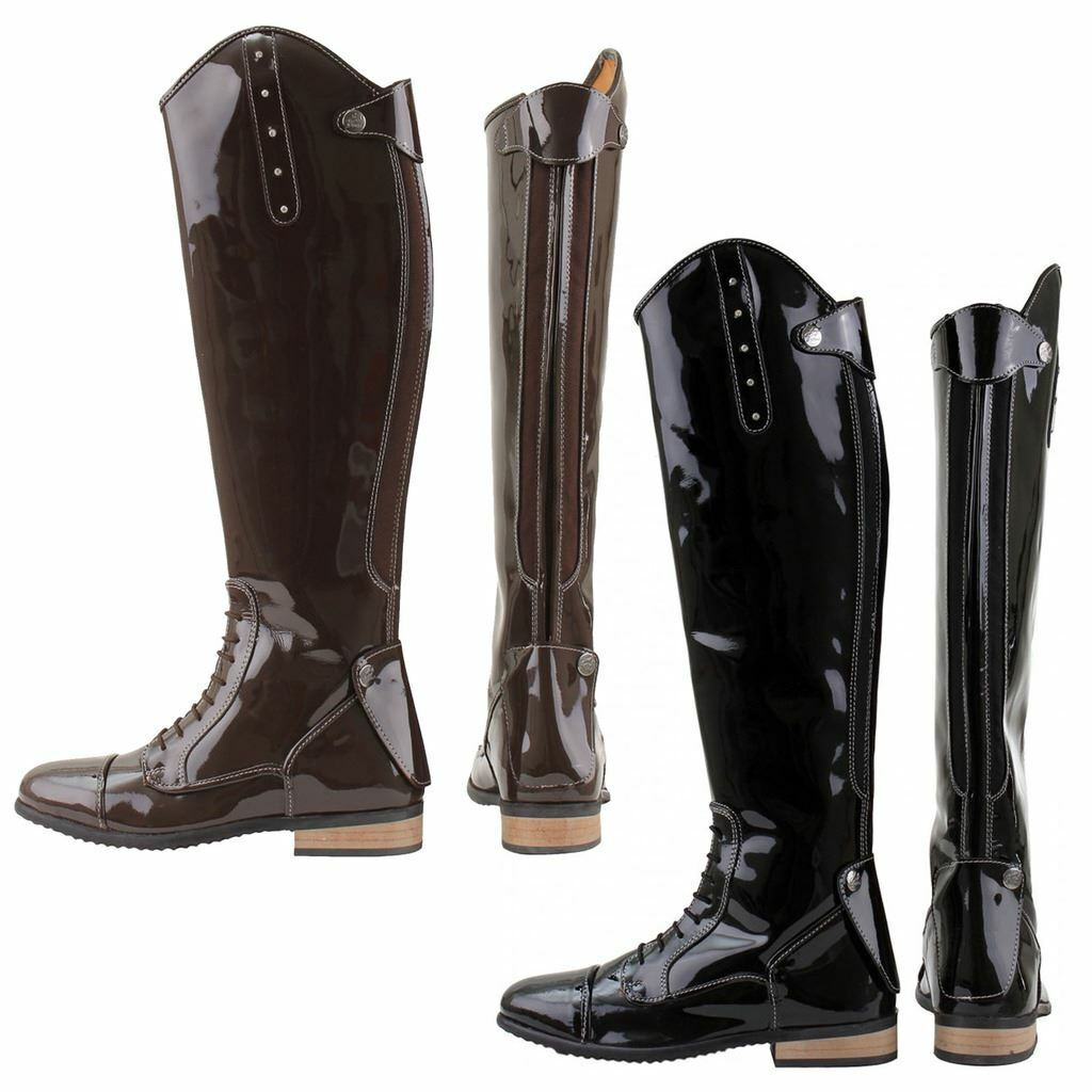 Horka Junior Rijlaars Bonny Shiny Leather Rhine Stones Finish Horse Riding Stiefel