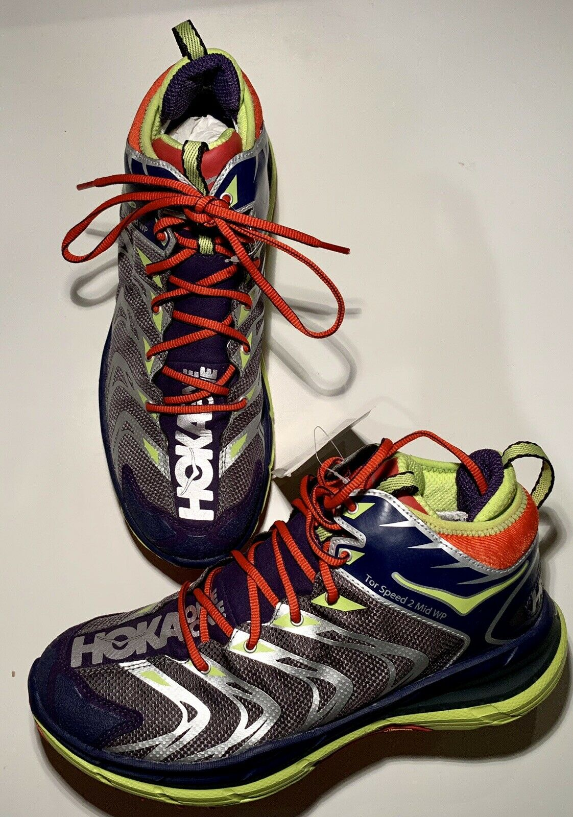 Hoka One One Men's Tor Speed 2 Mid Waterproof PurpLe Green Red Size 9 NWOB B1