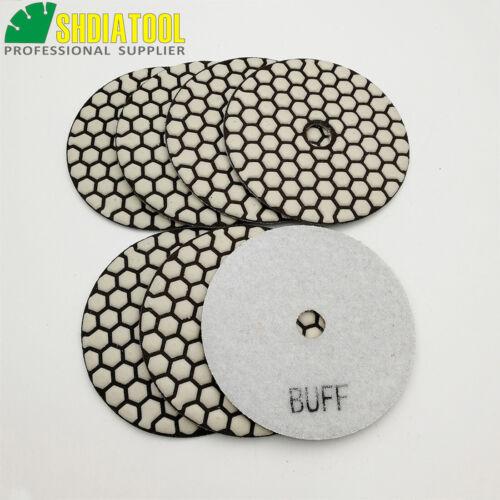 """7pcs//pk 100mm 4/"""" White Buff Diamond Dry Polishing Pad Disc Granite Marble Tile"""