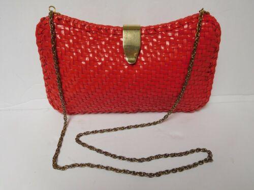 Vintage Walborg Red Plastic Basket Weave Clutch Pu