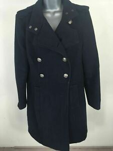 WOMENS-LA-REDOUTE-ESSENTIAL-NAVY-WOOL-BLEND-DOUBLE-BREASTED-WINTER-COAT-UK-14