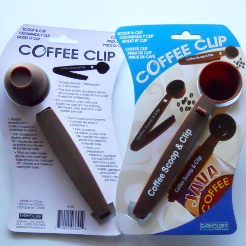 """2 EVRIHOLDER PLASTIC COFFEE SCOOP /& BAG CLIP 1 TABLESPOON 6¼/"""" Fast FREE US S/&H"""