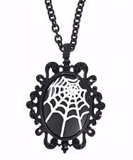 Spider Web Black Cameo Pendant Necklace Grunge Cobweb Goth Metal Gothic Punk