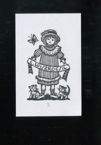 Ella Goldschmidt Girl with two cats Mädchen mit 2 Katzen EXLIBRIS,271a