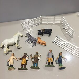 Britains Farm VINTAGE FIGURE Bracciante Shepherd Guardiacaccia Recinzione Animali Bundle