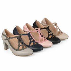 7d7a6fc4e5a Details about Brinley C. Womens Faux Leather Two tone Comfort sole Vintage  Mary Jane Pumps New