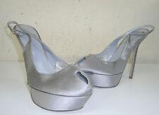 sandali donna sergio rossi firmata 40 in raso grigio plateau  sandals