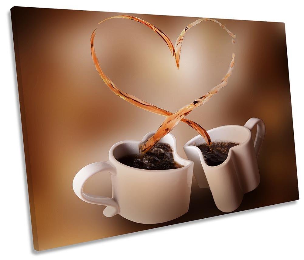 Marronee Tazze da Caffè Cuore Foto Tela Singola Wall Art Print