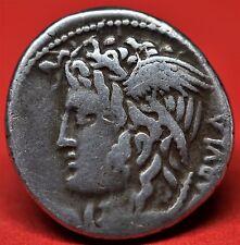 RARE REPUBLICAN SILVER DENARIUS OF L. COSSUTIUS C.F SABULA, 72 BC. RRC: 395. V.F