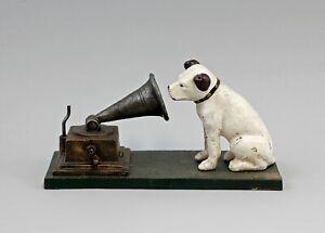 9937948-Fundicion-de-Hierro-Figura-Escultura-Perro-con-Gramofono-034-His-Masters