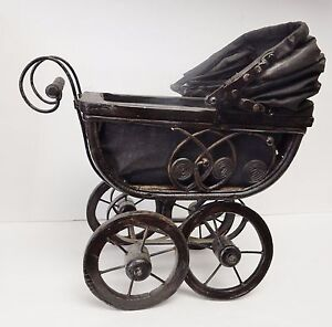 Vintage Doll Carriage Stroller Pram Baby Buggy Wicker