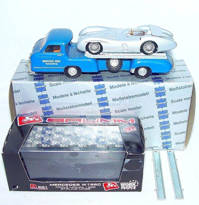 Conrad Brumm 1 43 STERLING MOSS MERCEDES-BENZ W196 + RACING CAR TRANSPORTER Set