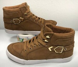 G-By-Guess-Brown-Suede-with-Gold-Accents-Women-s-Size-9M-High-Top-Shoes-Sneakers