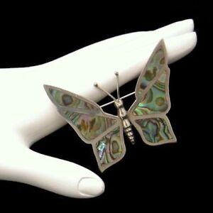 MEXICO-STERLING-Cuernavaca-Silver-Vintage-Abalone-Butterfly-Brooch-Pin-Swirls