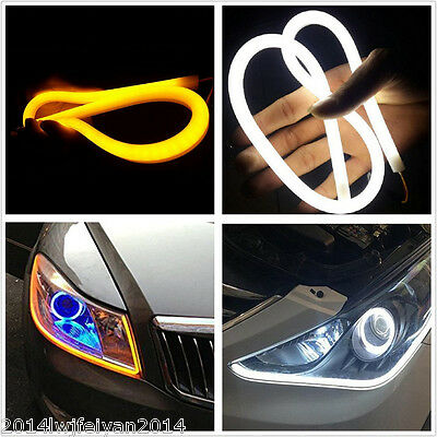 2x 60cm Car Soft Dual Color Tube LED Strip Switchback Headlight DRL Signal Light