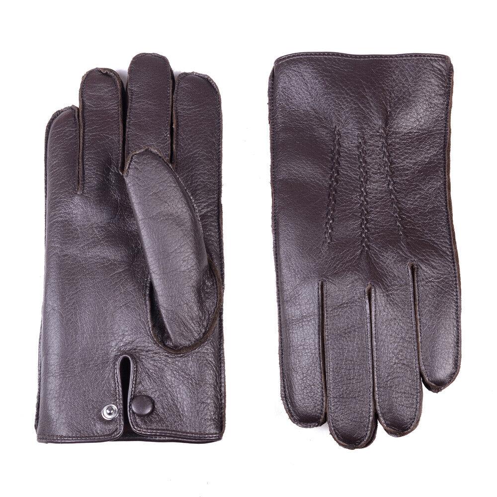 Men's Real Leather Soft Deerskin Wrist Button Winter Warm Outdoor Short Gloves
