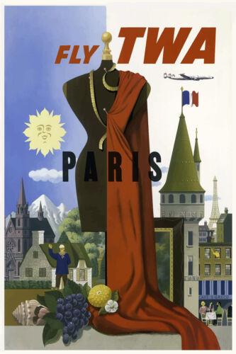 Vintage Travel Poster Paris TWA 1950s Fashion Art Café Eiffel Tower Print Retro