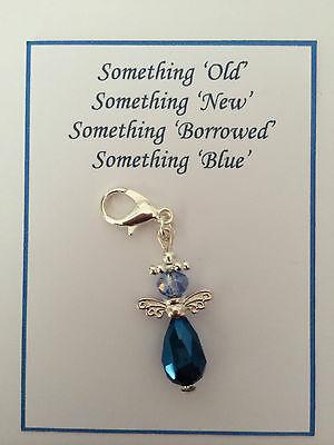 SOMETHING BLUE WEDDING BRIDAL BOUQUET GARTER GUARDIAN ANGEL CHARM GIFT PRESENT