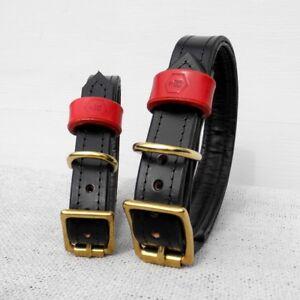 Collier de chien en cuir de luxe Houndworthy (noir de jais) x Grand 44cm-52cm